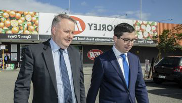 Labor candidate for Perth by-election Patrick Gorman, with Shadow Transport Minister Anthony Albanese. (AAP)