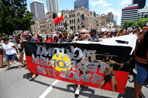 Invasion Day protestors in Brisbane last year. (AAP)