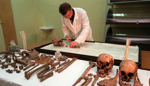 Scientist Alexei Nikitin,  examines bones of Anna Demidova, the Romanov's servant in 1998. The skull of Nicholas II is second from left on the front table next to the skull of his wife, Alexandra.