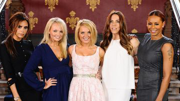 The Spice Girls (from left to right) Melanie Brown (Mel B), Melanie Chisholm (Mel C), Geri Halliwell, Emma Bunton and Victoria Beckham. (AAP)