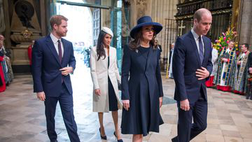 The Duke and Duchess of Cambridge, Prince Harry and Meghan Markle attend the Commonwealth Service at Westminster Abbey, London in March. Picture: PA